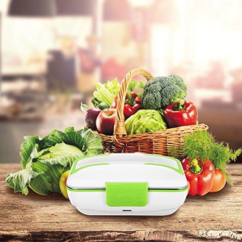 Boite à lunch Electrique Chauffante Lunchbox Gamelle Électrique pour bureau et Maison 3 Compartiments amovible boîte à déjeuner électrique Récipient en acier Inoxydable (Vert)