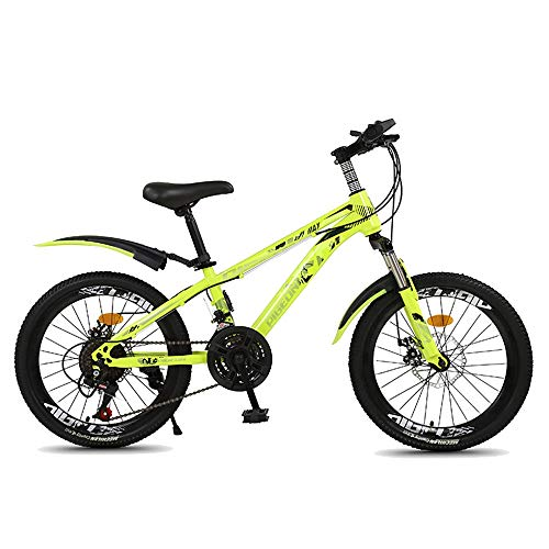 Axdwfd Kids Bike 18' & 20' Kids Outdoor Bicycle 7-Speed Adjustable,for 9-14Years Old Boys and Girls Adjustable Children Mountain Bike,Blue, Green, Red (Color : Green, Size : 18in)