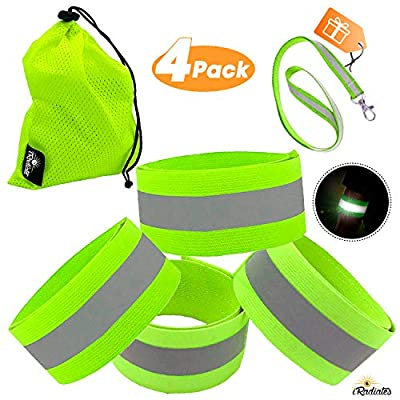 iRadiate Reflective Bands Reflector Running Gear - Adjustable Reflective Armband Arm Wrist Ankle Leg Band - Reflective Tape Strap for Clothing Biking and Safety Night Walking (Bands4 Green)