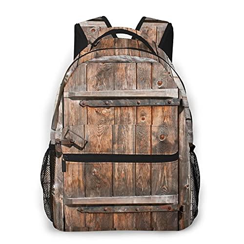 Mochila para portátil de viaje,puerta de madera rústica de un antiguo granero en una casa de campo,pueblo,vida rural envejecida,mochila antirrobo resistente al agua para empresas,delgada y duradera
