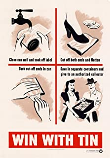 3W1 Vintage WWII Win With Tin Recycling War Effort Poster World War 2 Poster WW2 Re-Print - A3 (432 x 305mm) 16.5