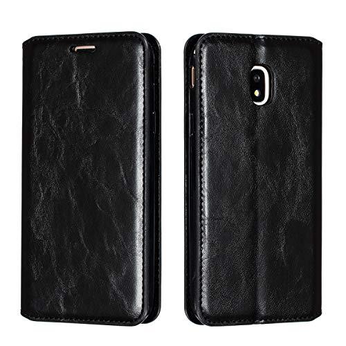 Tosim Galaxy J3 2017 /J330 Hülle Klappbar Leder, Brieftasche Handyhülle Klapphülle mit Kartenhalter Stossfest Lederhülle für Samsung Galaxy J3 2017/J330F - TOYTE020127 Schwarz