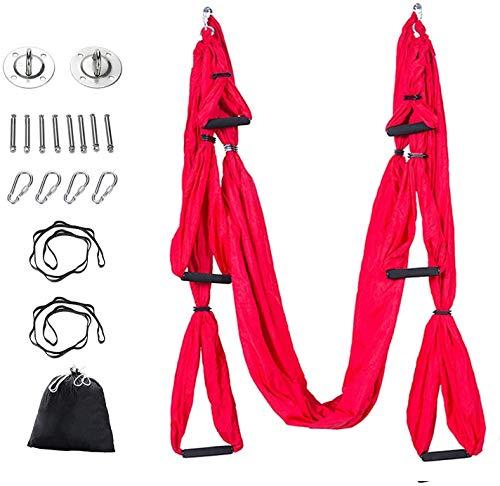 Chiodr Hamaca de Yoga aérea Pilates Trapecio Seda elástica Toalla de Yoga Hamaca de Seda Juego de Columpio para Yoga Equipo de Hamaca con mosquetón, Cadena de Margaritas (Rojo)