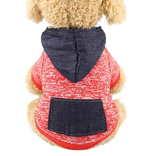 Herbst Winter Warme Hundekleidung, Hundemantel Hundejacke Hundepullover Warm Winter Kapuzen-Sweatshirt Gestrickter Pullover mit Tasche Haustier Kleidung für Kleine Hunde TWBB