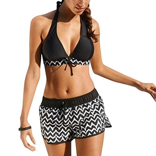 iBaste Neckholder Damen Bikini Push Up Bademode mit Badehose Bikini-Set Badeanzug Swimsuit (EU34-EU46)-M