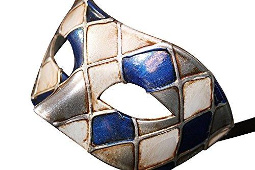 Das Gute Leben Harlekin Blau und Silber Antik Elfenbein Venezianische Maskerade Karneval Partei Augenmaske Maske