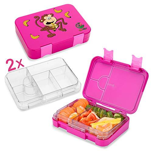 TAKWAY Bento Box mit Unterteilungen | Lunchbox auslaufsicher | Zwei Innenteile | Brotdose Kinder | Vesperdose für die Kita | Jausenbox (pink)