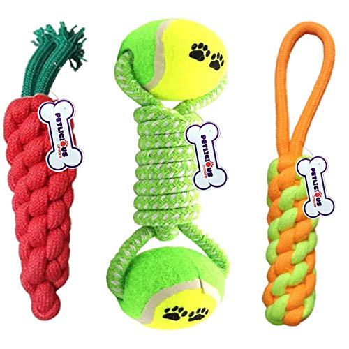 Petlicious & More Combo of 3 Durable Pet Teeth Cleaning Chewing Biting Knotted Small Puppy Toys -100% Natural & Safe Cotton (Color May Vary)