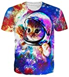 RAISEVERN Unisex Mens Womens Boys Astronaut Space Cat Shirt 3D Printed Summer Casual Short Sleeve T Shirts Tees Black Blue
