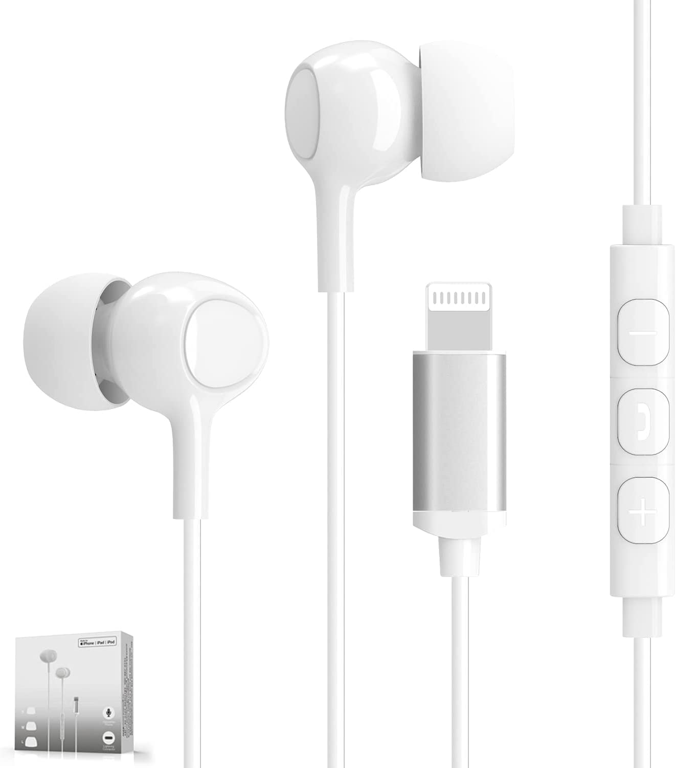 MFi Certified Lightning Earphones with Mic and Volume Remote iPhone Headphones in Ear Wired Noise Isolation Earbuds Compatible for iPhone 12/11/XR/XS/X, 8/8 Plus, 7/7 Plus, iPad, iPod