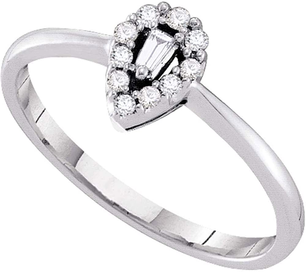 Dazzlingrock Collection 14kt White Gold Womens Baguette Diamond Cluster Promise Bridal Ring 1/8 ctw