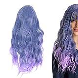 Pelucas onduladas, peluca larga y rizada gris azul degradada de 60 cm, pelucas de pelo ondulado rizado largo y esponjoso para mujer hombre, pelucas de fiesta de cosplay diarias, peluca de fiesta de co
