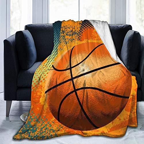 DOWNN Manta de forro polar de franela retro de baloncesto impreso en 3D, mantas ultrasuaves para habitaciones de 201 x 152 cm