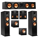 Klipsch 5.2 System with 2 RP-280F Tower Speakers, 1 RP-450C Center Speaker, 2 Klipsch RP-240S Surround Speaker, 2 Klipsch R-112SW Subwoofer + AudioQuest Bundle