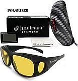 Saulmann  Polarisierte Unisex Überzieh Blendschutzbrille - Kontrast Outdoor- & Nacht Fahrbrille mit UV-Schutz gegen blendendes Licht und Antireflexbeschichtung - Polbrille SM5775
