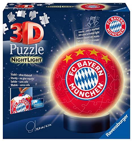 Ravensburger 121779 3D Puzzle Nachtlicht FC Bayern München - Fanartikel für Kinder ab 6 Jahren, LED Nachttischlampe mit Klatsch-Mechanismus, Schlummerlicht