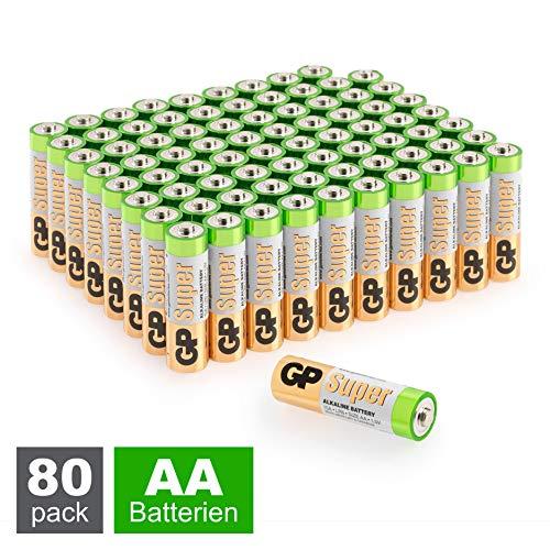 GP Batterien AA (Mignon, LR6) 1.5V, 80 Stück Großpackung, Super Alkaline Longlife Technologie (8X 10er Pack Mignon AA Batterien)