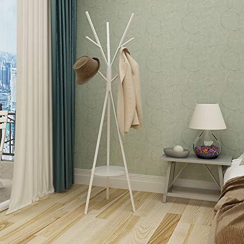 Amazon Brand – Umi Garderobenständer, 180 cm freistehender Kleider- und Huthalter mit 9 Haken, Eingangsbereich Metall Weiß Matt Finish Hall Tree