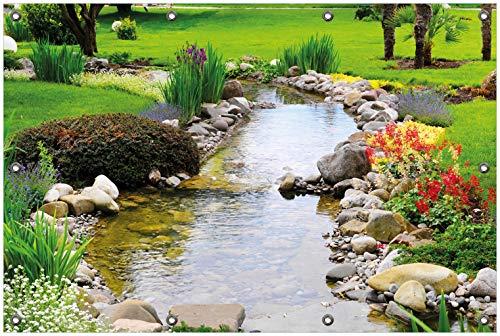 Wallario Garten-Poster Outdoor-Poster, Blumen am Teich in Premiumqualität, für den Außeneinsatz geeignet