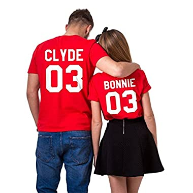 Epic Tees Clyde+Bonnie 03 Matching T-Shirts, Couple Valentine's Gift (Red)-L/2XL