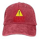 Gymini Sombrero de señalización de advertencia de peligro sin filtro, gorras de béisbol ajustables lavables sombrero de vaquero de algodón para hombres y mujeres rojo