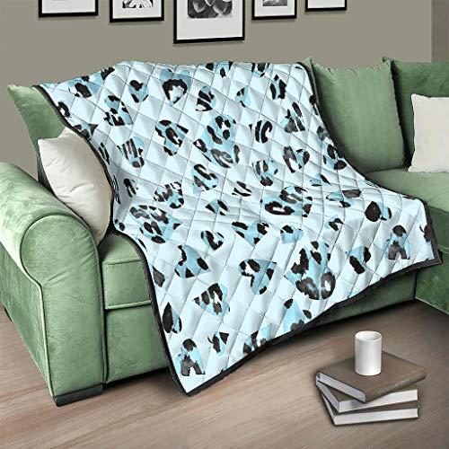 AXGM Colcha (150 x 200 cm), diseño de leopardo y corazones, color azul