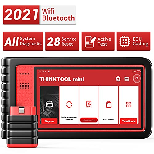 Thinktool Mini All System Diagnostic Scanner for All Cars with 28 Service Reset Functions,Scan Tool with Bi-Directional Test and ECU Coding (Optional), Car Scanner with ABS Bleeding Oil Light Service
