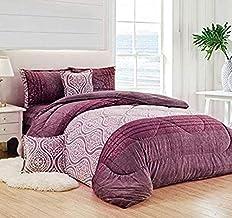 Warm and Fluffy Winter Velvet Fur Comforter Set, King Size (220 X 240 Cm) 6 Pcs Soft Bedding Set, Floral And Solid Color D...