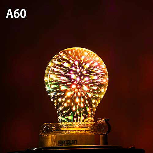 Colorful Ball Light Screw Connector Home Decoration Edison Party Lamp 3D Fireworks Bulb Glass