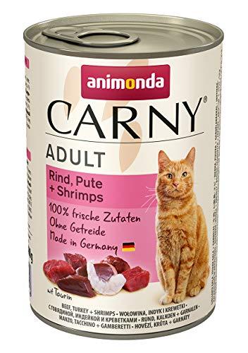 animonda Carny Adult Katzenfutter, Nassfutter für ausgewachsene Katzen, Rind, Pute + Shrimps, 6 x 400 g