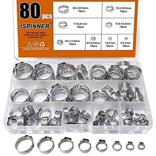 ISPINNER 80pcs 304 Stainless Steel Single Ear Stepless Hose Clamp Assortment Kit, 5.8-23.5mm Crimp Hose Clamp Assortment Kit (1/4 inch - 15/16 inch)