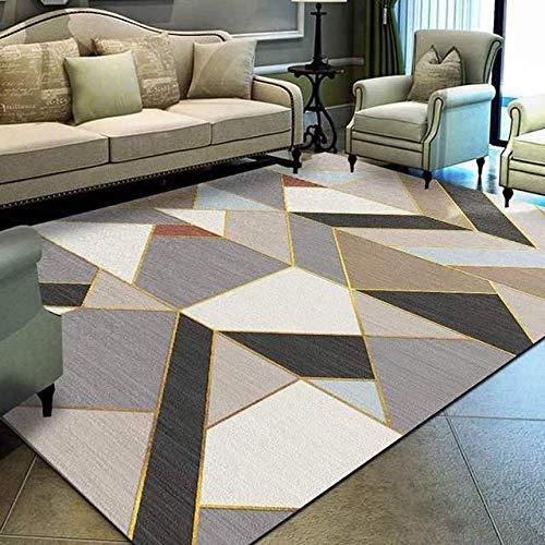 Tappeto Home Alfombra Interior Y Exterior Moderna Línea Dorada Gris Negro Crema geometrico-160 × 230 cm Fácil de Limpiar