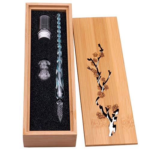 Glas Dip-Stift Jahrgang Handgemachte Glas Unterschrift Stift Elegante Kristall Dip Zeichen Geschenk Stift Mit Geschnitzten Holzkiste(Blau)