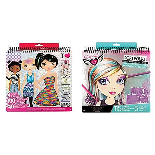 Fashion Angels Fashion Design Sketch Portfolio (11451) Full Size Sketch Book, Fashion Coloring for Kids,Brown/A & Make-up & Hair Design Sketch Portfolio