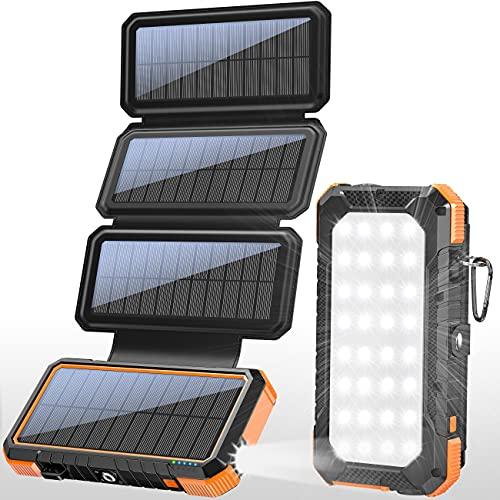 BLAVOR Solar Ladegerät 20000mAh Wireless Power Bank,18W 3A Schnellladegerät Außen Batterie mit 4 Sonnenkollektoren,Campinglicht,Kompass,PD USB C für Laptop,iOS,Android Phone Charge