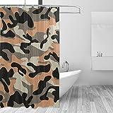 MONTOJ Orange Camouflage Home Decor Duschvorhang Badvorhang Stoff Badezimmer Dekor Set mit Haken 177,8 cm langlebig & super wasserdicht 1 Panel 182,9 x 182,9 cm