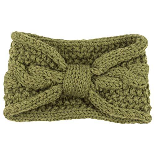 fashionchimp ® Uni-Stirnband für Damen, Zopfmuster Strick-Stirnband mit Knoten-Muster, Winter (Grün)