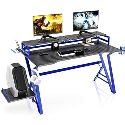 VIPEK Ergonomic Gaming Desk 55 Inch Home Office Computer Desk, Carbon Fiber Surface Game Table with Monitor Stand, CPU Holder, Headphone Hook, Router Holder, Cup Holder and Cable Management (Blue)