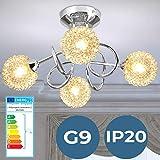 Lampadario - CEE: da A++ a E, LED, 4 Lampadine da 28 W Richieste, G9, 4 Sfere di Vetro e Filo, Bracci Incrociati - Lampada da Soffitto, Plafoniera a Sospensione, da Soggiorno, Salotto