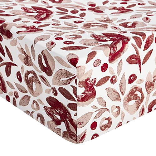 Amazon Basics – Hochwertiges Mikrofaser-Spannbettlaken, 160 x 200 x 30 cm, Aquarell Rumba-rot