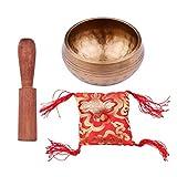 Cuenco Tibetano Cuenco Tibetano Con Dise?o De Escala De Calibre De 8,5 Cm + Palo De Madera + Cojín Cuadrado Rojo Para El Budismo, La Meditación, El Yoga, La Relajación (Size:Type 4; Color:As Shown)