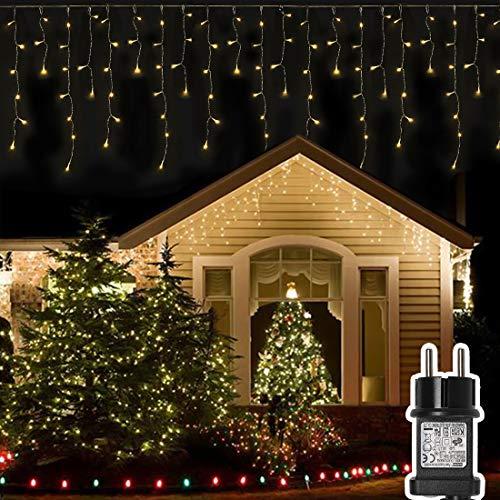 200 LED 12.8M Lichterkette Eisregen Außen, Opard Lichtervorhang Eiszapfen mit Steckdose, 8 Modi IP44 Wasserdicht für Party, Hochzeit, Feier, Geburtstag, Terrasse, Außen Dekoration