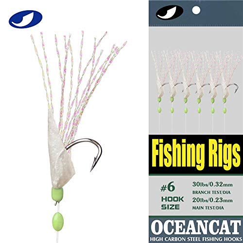 OCEAN CAT 10/20/50/100 Packs Rainbow Fish Skin 6 Hooks Saltwater String Hook Fishing Lure Bait Rig Tackle (1#, 10 Packs)