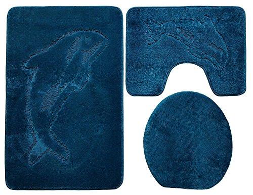 Ilkadim Delphin Badgarnitur 3 TLG. Set 55x85 cm einfarbig, WC Vorleger mit Ausschnitt für Stand-WC (Petrol)