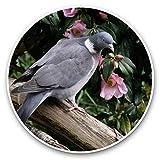Impresionantes pegatinas de vinilo (juego de 2) 30 cm – Bonito pájaro de paloma con flores de jardín para portátiles, tabletas, equipaje, libros de recortes, neveras, regalo fresco #46210