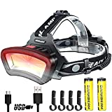 Headlamp DARKBEAM USB Rechargeable COB LED Floodlight Head Lamp With Red Light 2000 Lumen Lightweight Durable Waterproof Headlight - Hard hat and Camping and Hiking Gear-7-14 Hours Long Battery Life