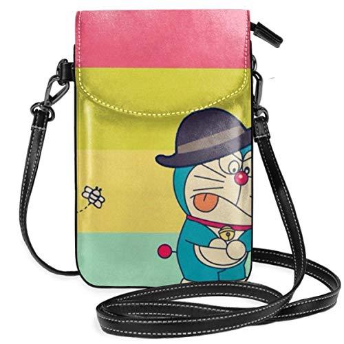 Bolsos cruzados para mujer – Colorido Doraemon pequeño monedero para teléfono celular con ranuras para tarjetas de crédito