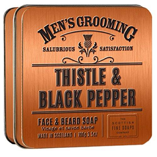 Thistle & Black Pepper Mens Face & Beard Scottish Soap in a Tin - The Fine...