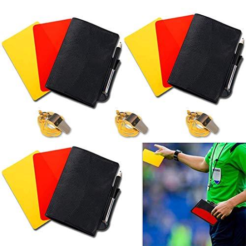 jeeri 2 Paar Sport Schiedsrichter Karten Set, Fussball Sport Schiedsrichter Karten Set, mit Gelbe Karte Rote Karte, Papieranzeigetafel, Tasche und Metall Edelstahl Pfeife Trainer für Fußball