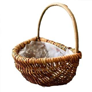 20 cm Alivier Cestas de compras de mimbre Cestas de picnic de mimbre vintage Cestas de almacenamiento con asas y forros para picnics fiestas y barbacoas 38 38